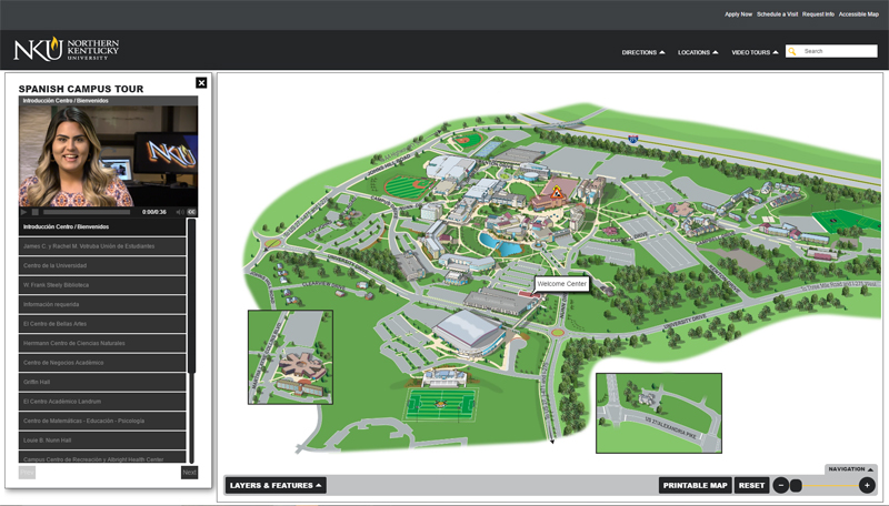 Northern Kentucky University AnyMap with Guided Spanish Video Tours