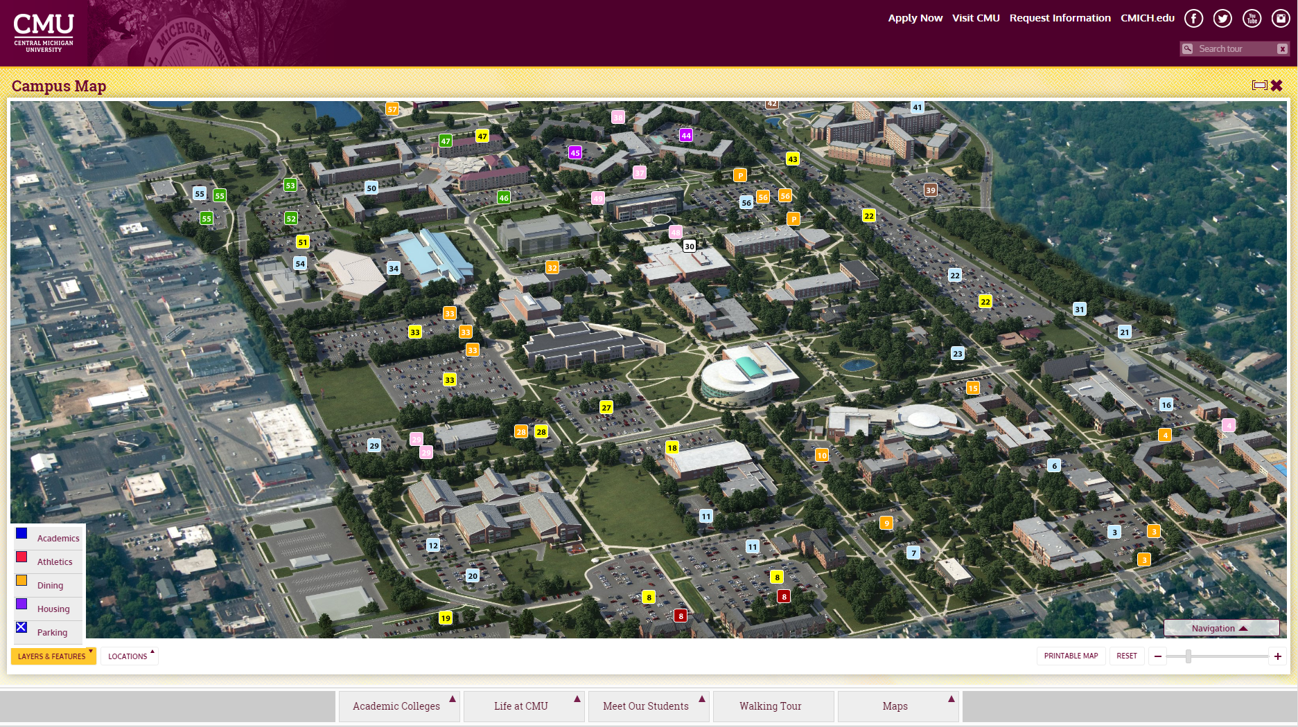 U Michigan Campus Map.Graphical Layers On Interactive Campus Maps