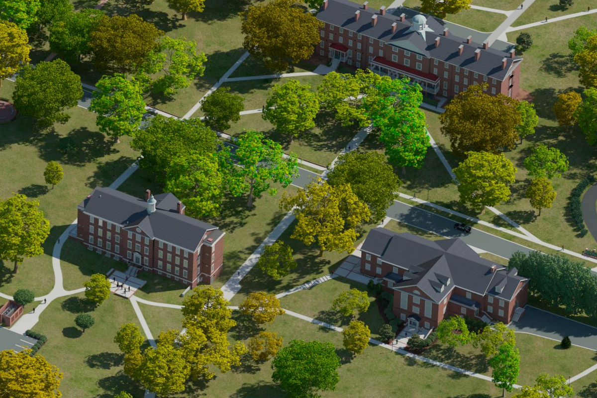 Hampden Sydney Campus Map.Photo Realistic Map Artwork Hampden Sydney College