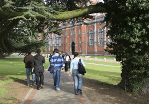 Students walking to university building