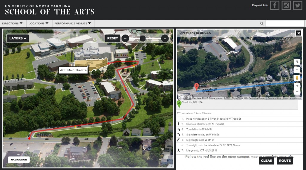 directions depicted on a campus map