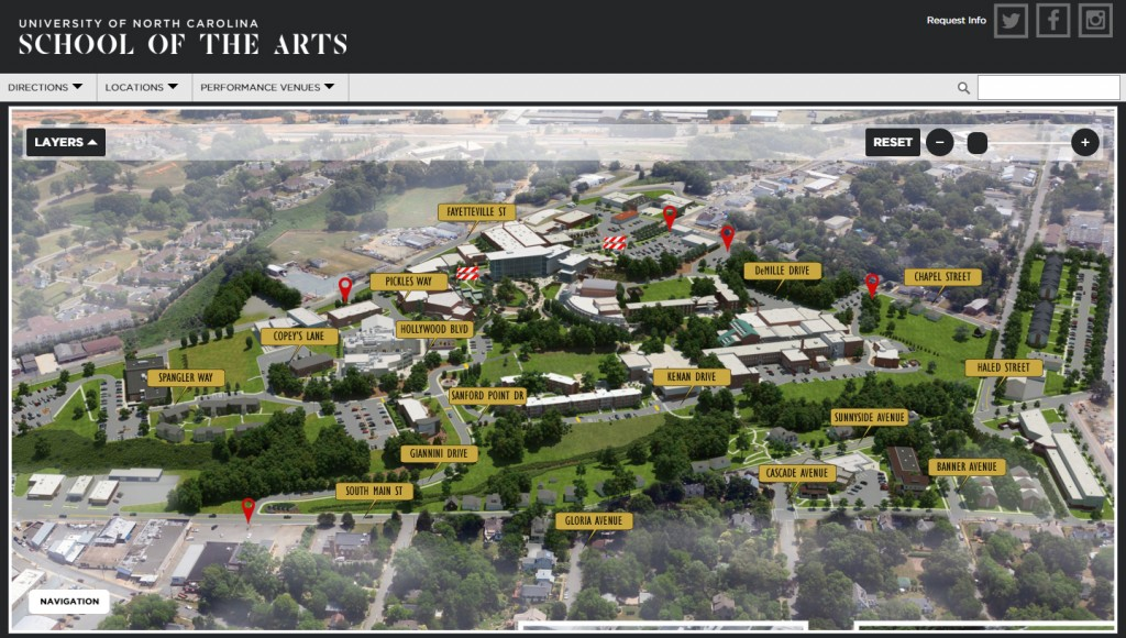 campus map showing road names and entrance points