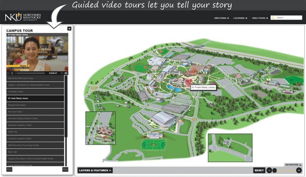 Northern Kentucky University Campus Map.Interactive Maps With Guided Video Tours
