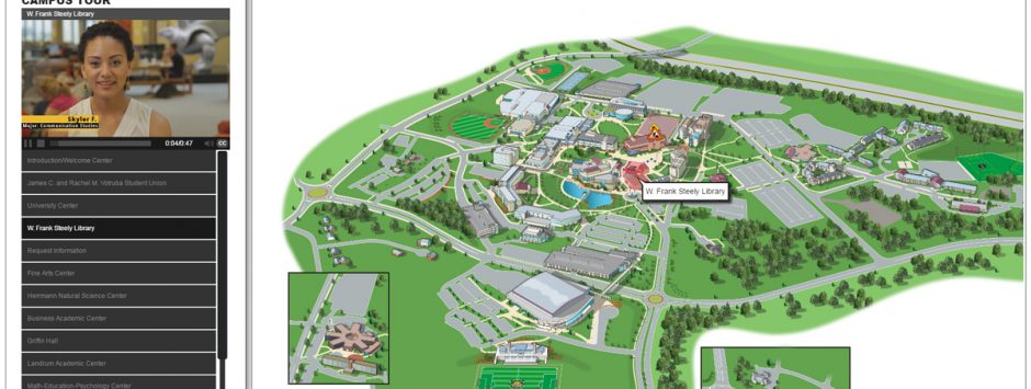 The Northern Kentucky University Interactive Map (depicted) features guided video tours in English & Spanish.