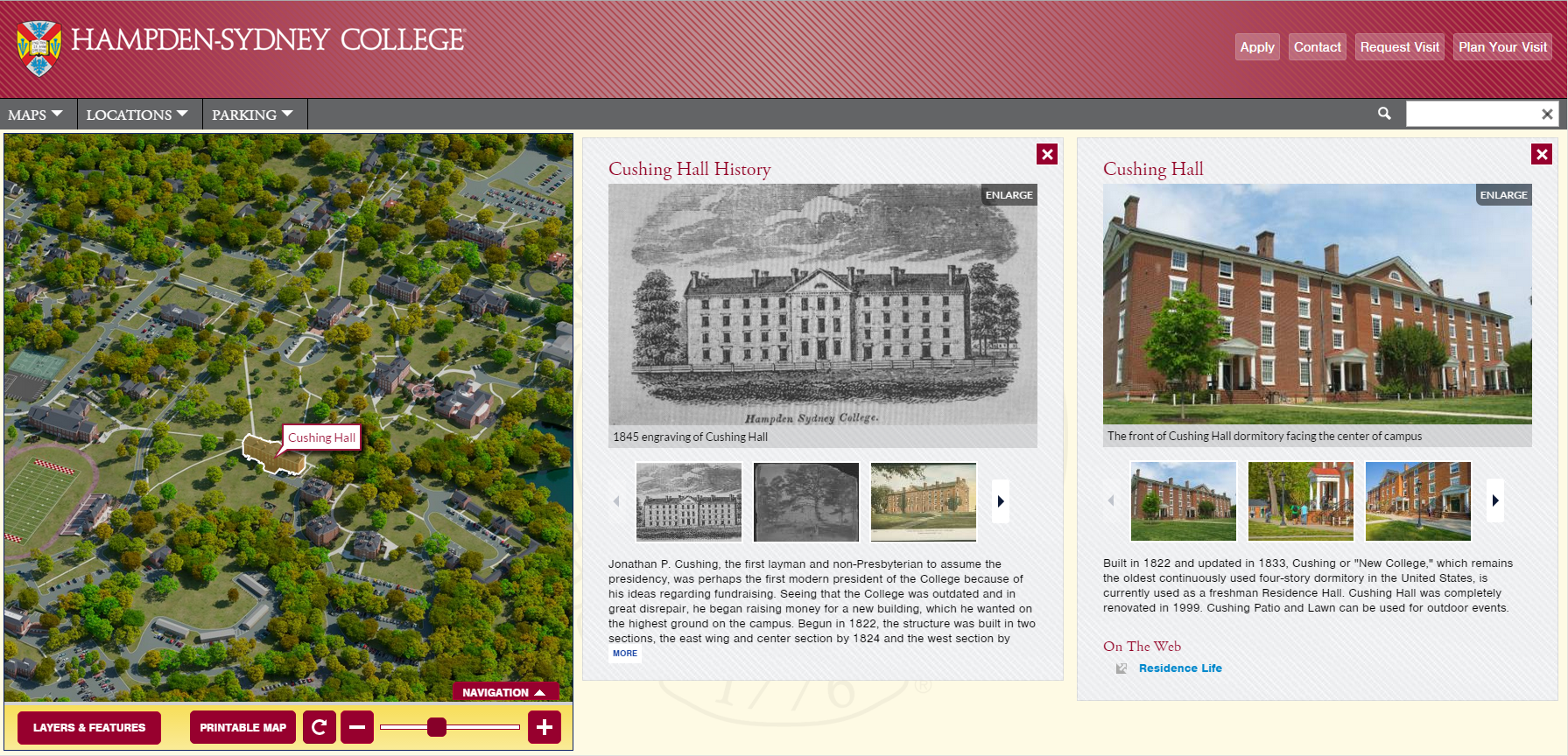 Hampden Sydney Campus Map.Historical Building Layers On Interactive Maps Drive Alumni Visits