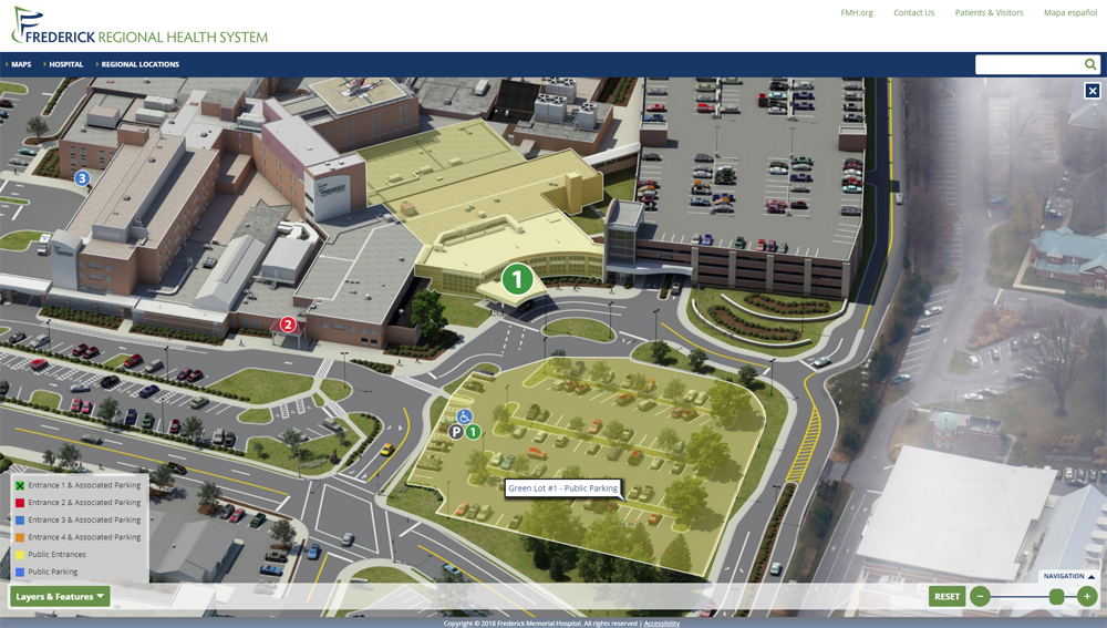 Frederick Memorial Hospital Interactive Map with Entrance #1 and Parking Lot #1 highlighted